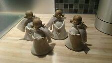 4 Engel mit Silberflügeln Dekofigur Deko Keramik Weihnachten Christmas X-Mas