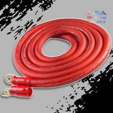 0 Gauge 10ft RED Power OFC Wire Strands Copper Hi-Voltage Marine Cable 1/0 AWG