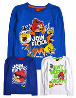 Boys Angry Birds T Shirts New Kids Long Sleeved 100% Cotton Tops 4 - 10 Years