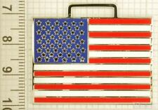 Sturdy key chain with a silver-plated & enamel American (USA) flag shield