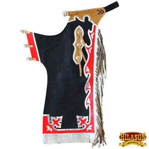Hilason Pro Rodeo Bull Riding Chaps Western Black Genuine Leather