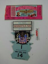1978 Indianapolis 500 Bronze Pit Badge & Ticket Tom Soyrs Timing and Scoring