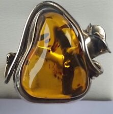 ODD SHAPED NATURAL AMBER 925 STERLING SILVER RING 2