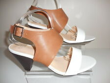 White/ Tan Strappy Shoes / Sandals Size UK 9 Wide Fit (EEE) BNIB From Evans