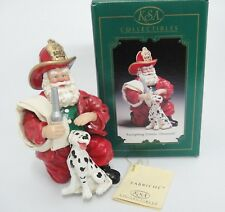 Santa Fireman with Dalmatian Dog Ornament Firefighting Friends Fabriche w Box
