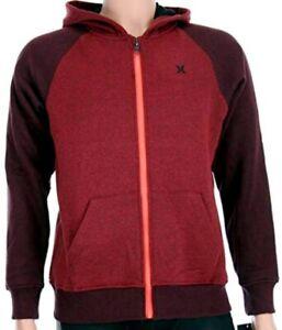 Hurley Boys Red Crimson Full-Zip Hoodie Hooded Sweatshirt Jacket 982317