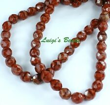 25 Chestnut Coral Czech Firepolished Faceted Round Glass Beads 8mm
