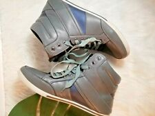 Aldo Men's High Top Leather Fashion Sneakers Shoes Grey Lace Up Size 12