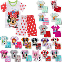 Minnie Mickey Elsa Kids Girls Short Sleeve Nightwear Pajamas Set Sleepwear Pj's
