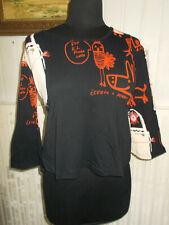 Tee shirt court coton noir imprimé CUSTO BARCELONA T.3 36/38 manches 3/4 évasées