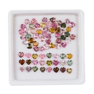 70 Pcs Natural Tourmaline 3mm Heart Cut Sparkling Loose Gemstones Wholesale Lot