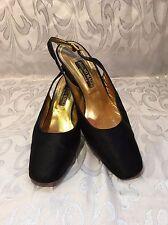 Vintage Black Satin Bruno Magli Couture Rhinestone Slingback Pump Shoes Size 9