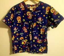 Disney Mickey Mouse Minnie Donald Duck Trick or Treat Scrub Top Halloween Large