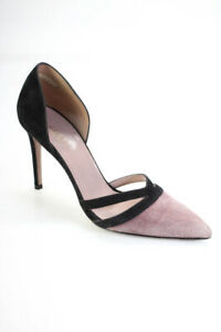 Gucci Womens Suede Pointed Toe D'Orsay Two Tone Pumps Purple Black Size 36.5 6.5