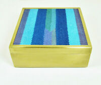 Vtg Mid Century ModernTrinket Keepsake Box Brass Abstract Needlepoint Heavy