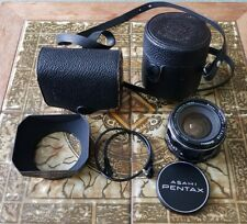 Near Mint Pentax Super Takumar 28mm f3.5 Wide Angle Lens, hood, caps, cases