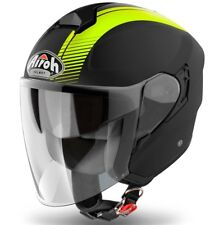 CASCO HELMET MOTO JET FIBRA AIROH HUNTER SIMPLE GIALLO FLUO NERO OPACO TG MC 58