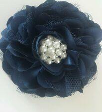 "Girls Womens 3.5.""satin net & pearl Full Flower Hair Clip & corsage Navy Blue."