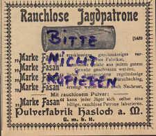 HASLOCH, Werbung 1903, Pulver-Fabrik Hasloch a. M. Gewehre Waffen Jagd-Patrone