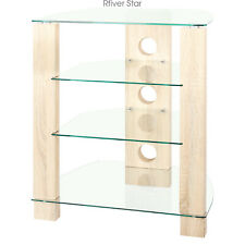 Wood Av Component Media Stand Stereo Cabinet, Modern Audio-Video Tower