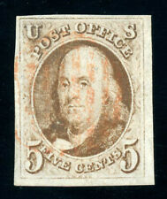 #1, 5c 1847 - Red Brown, USED, Very Fine & sound, light RED grid, PF certificate