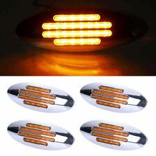 "4X 6.7"" Amber Truck Trailer Side Marker Clearance Light Oval Chrome Base 24 LED"