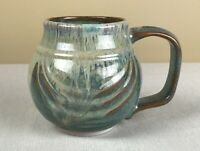 "Bay Art Pottery Drip Glaze Bowl, Virginia, Green-Blue Mug 7"" x 5"""
