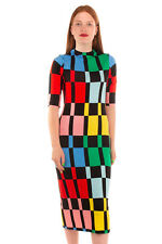 RRP €300 ALICE + OLIVIA Midi Bodycon Dress Size 12 Stretch Geometric High Neck