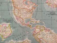 "VILBER FUN WORLD MAP OCEAN Atlas Designer Multipurpose Fabric BY THE YARD 54""W"