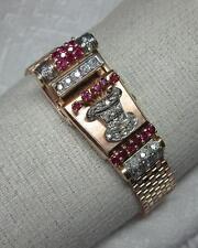 Art Deco Retro 1CT Diamond 1CT Ruby Wittnauer Watch Bracelet 14K Rose Gold c1930