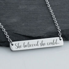 She Believed She Could, So She Did - Double Sided Bar Necklace Stainless Steel