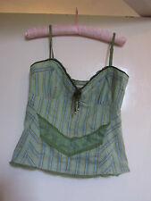 Green & Multicoloured Stripe Fitted Karen Millen Vest Top in Size 12