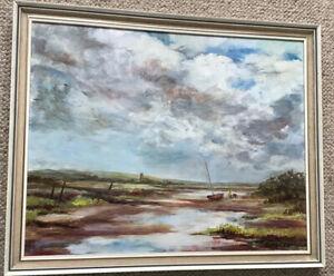 Norfolk Artist Wiltshire Framed Oil On Board Sail Boat At Rest North Norfolk