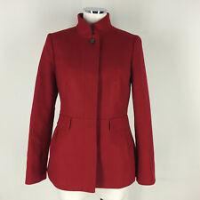 Banana Republic S Red Wool Short Coat Jacket Funnel Neck Excellent