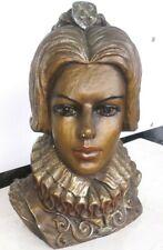 Marwal Chalkware Lady Head Bust 12� Spanish Elizabethan Royal Vintage