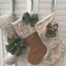 Angels And Bling Upcycle Christmas Stocking Set Gift Bags