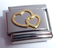 GOLD DOUBLE HEART Italian Charm - fits 9mm Classic Bracelets - I Love You Hearts
