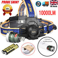 Tactical XM-L T6 LED Headlamp Headlight Head Light USB Rechargeable + 2x Battery