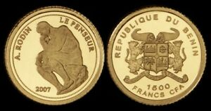 Benin: 2007 1500 Francs Statue of The Thinker 0.5g 999 Gold Coin
