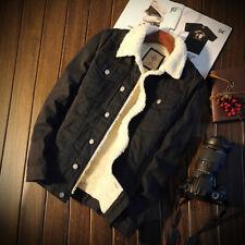 Mens Fleece Sherpa Lined Denim Jacket Jeans Blazer Slim Coat Winter Thermal