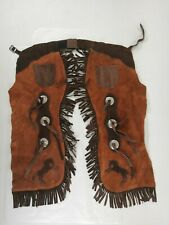 Vintage Real Leather Children Western Cowboy Fringe Chaps -
