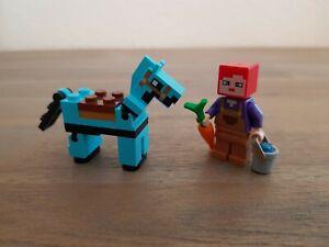 Lego Minecraft Figuren Farmhand und Pferd mit Zubehör