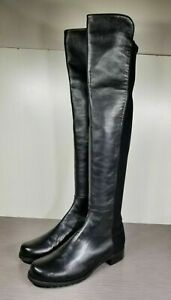 Stuart Weitzman 50/50 Over the Knee Boot, Black Leather, Womens Size 9.5
