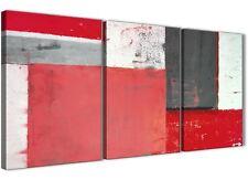 Rosso Grigio Pittura Astratta Tela Wall Art Multi 3 PEZZI-larghezza 125 cm - 3343