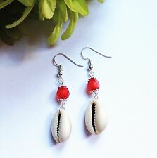 Natural Cowrie Shell drop earrings, Silver Plated. Pretty Gift Ideas.Handmade :)