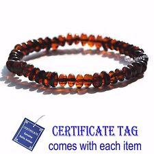 Cherry  Baroque Natural Geniune Baltic Amber Stretch Adult Bracelet