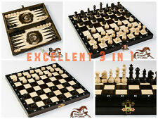 SUPERB 3in1 WOODEN SET OF BACKGAMMON, CHESS & DRAUGHTS 28 x 28 - HAND CRAFTED !