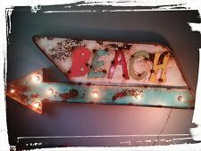 BEACH SIGN - LIGHT UP SIGN - VINTAGE SIGNS - METAL - HANDMADE