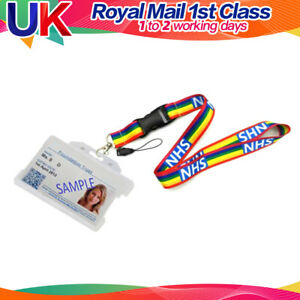 UK NHS Rainbow Lanyards with Enclosed ID Card Holder