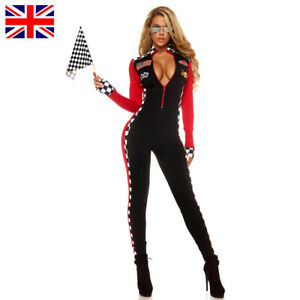 Ladies Racer Driver Costume Super Race Car Jumpsuit Outfit with Gloves
